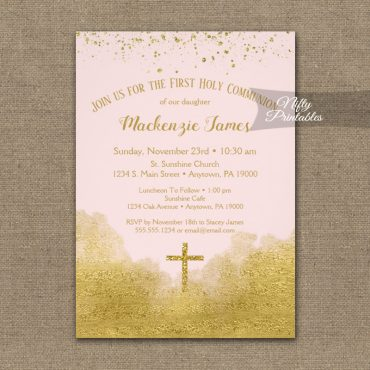 First Holy Communion Invitations Gold Confetti Glam Pink PRINTED