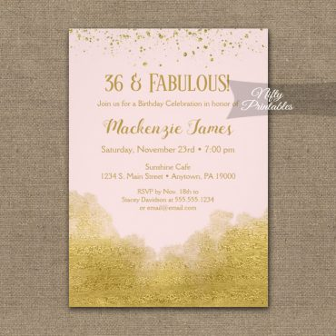 Birthday Invitation Gold Confetti Glam Pink PRINTED
