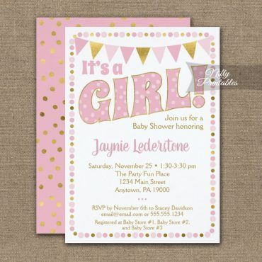 Baby Shower Invitation Pink Gold Dotty It's A Girl PRINTED