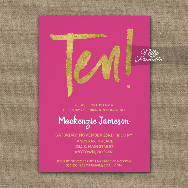 10th birthday invitation hot pink gold script printed