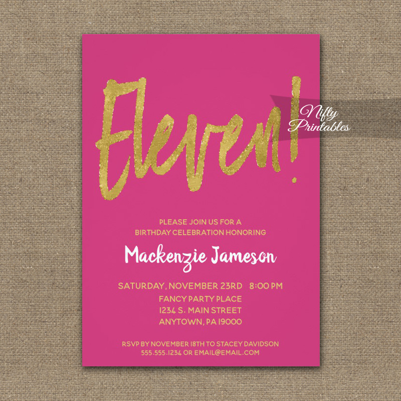 11th Birthday Invitation Hot Pink Gold Script PRINTED