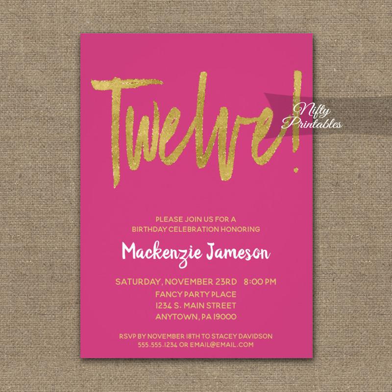 12th Birthday Invitation Hot Pink Gold Script Printed Nifty Printables