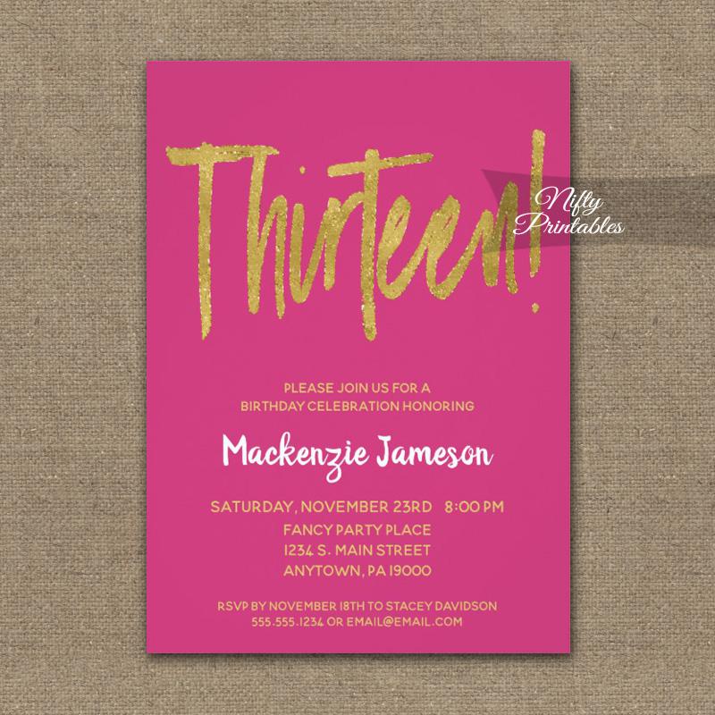 13th Birthday Invitation Hot Pink Gold Script PRINTED
