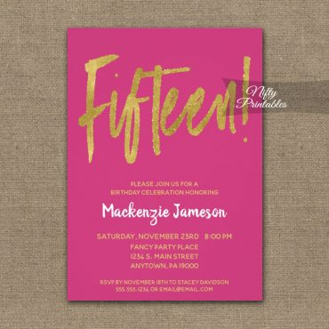 15th Birthday Invitation Hot Pink Gold Script PRINTED