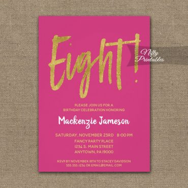 8th Birthday Invitation Hot Pink Gold Script PRINTED