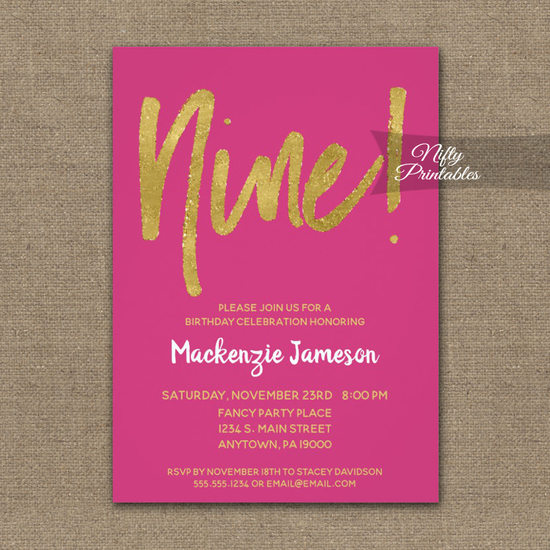 9th Birthday Invitation Hot Pink Gold Script PRINTED