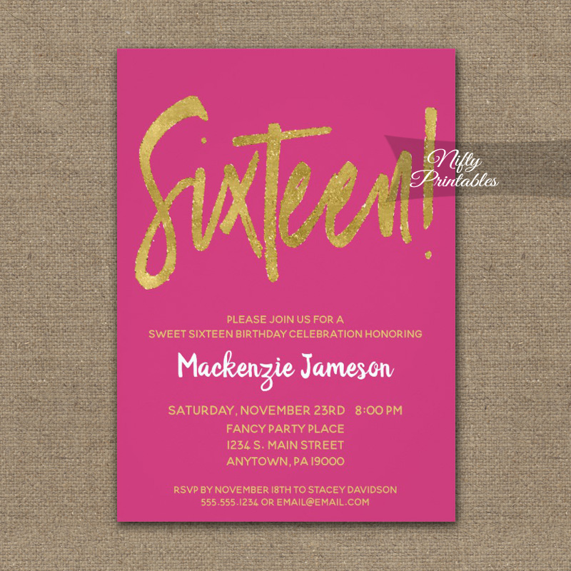 Birthday Invitation Sweet Sixteen 16 Hot Pink Gold Script PRINTED