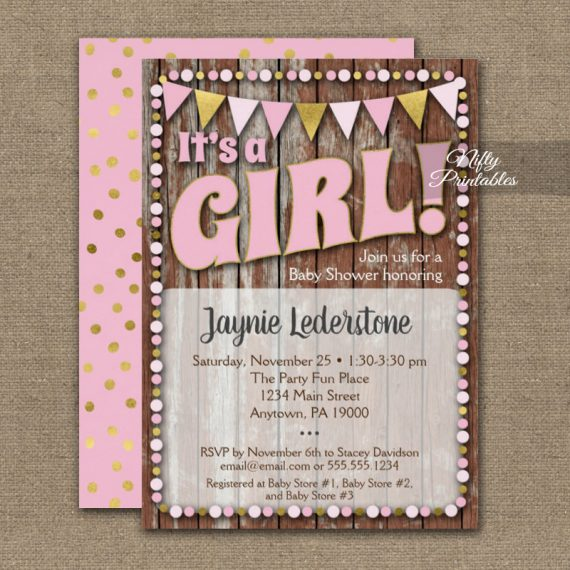 Baby Shower Invitation It's A Girl! Pink Gold Wood PRINTED