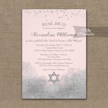 Bat Mitzvah Invitations Silver Confetti Glam Pink PRINTED