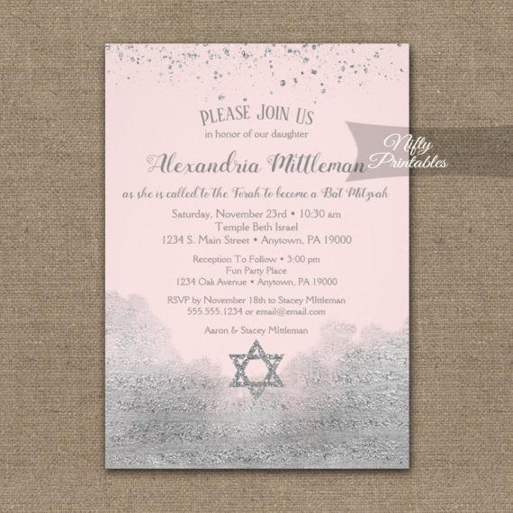 Bat Mitzvah Invitation Silver Confetti Glam Pink PRINTED