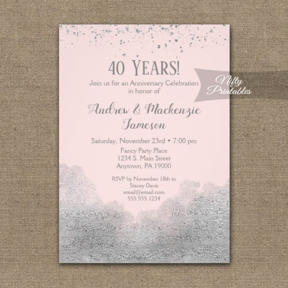 Anniversary Invitation Silver Confetti Glam Pink PRINTED