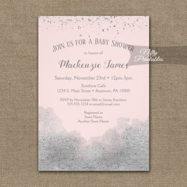 Baby Shower Invitation Silver Confetti Glam Pink PRINTED