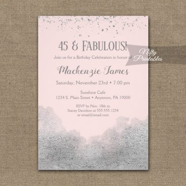 Birthday Invitation Silver Confetti Glam Pink PRINTED
