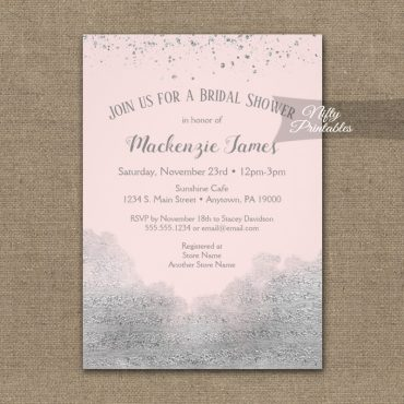 Bridal Shower Invitation Silver Confetti Glam Pink PRINTED