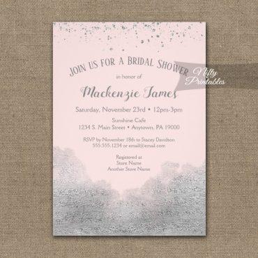 Bridal Shower Invitations Silver Confetti Glam Pink PRINTED