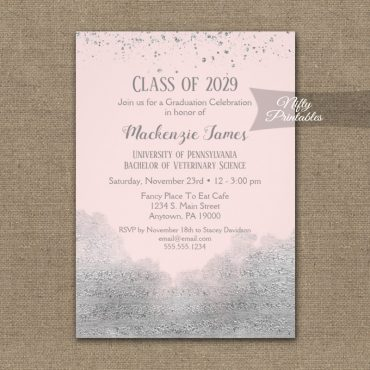 Graduation Party Invitations Silver Confetti Glam Pink PRINTED