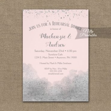 Rehearsal Dinner Invitation Silver Confetti Glam Pink PRINTED