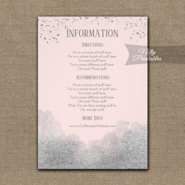 Silver Confetti Glam Pink Wedding Details Info Card PRINTED