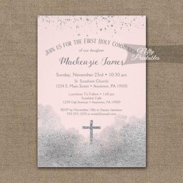 First Holy Communion Invitation Silver Confetti Glam Pink PRINTED