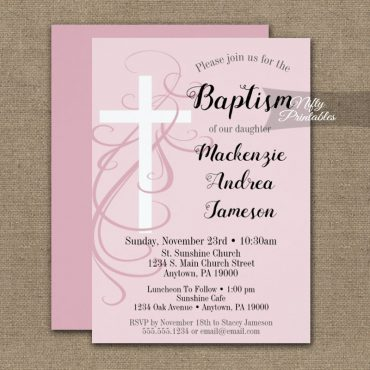 Baptism Invitation Pink Swirly Cross PRINTED