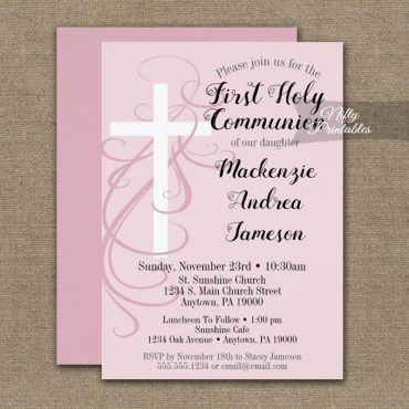 First Holy Communion Invitation Pink Swirly Cross PRINTED
