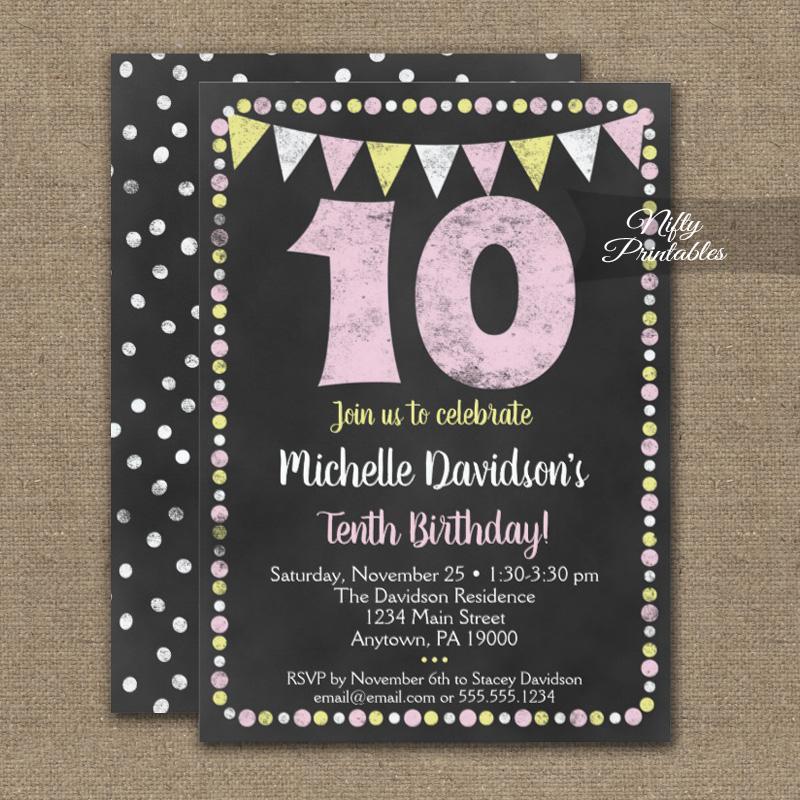 10th birthday invitation pink yellow chalkboard printed nifty