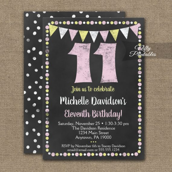 11th Birthday Invitation Pink Yellow Chalkboard PRINTED