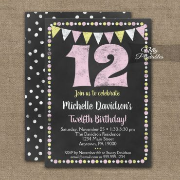 12th Birthday Invitation Pink Yellow Chalkboard PRINTED