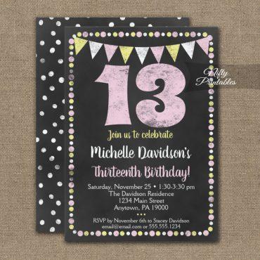 13th Birthday Invitation Pink Yellow Chalkboard PRINTED