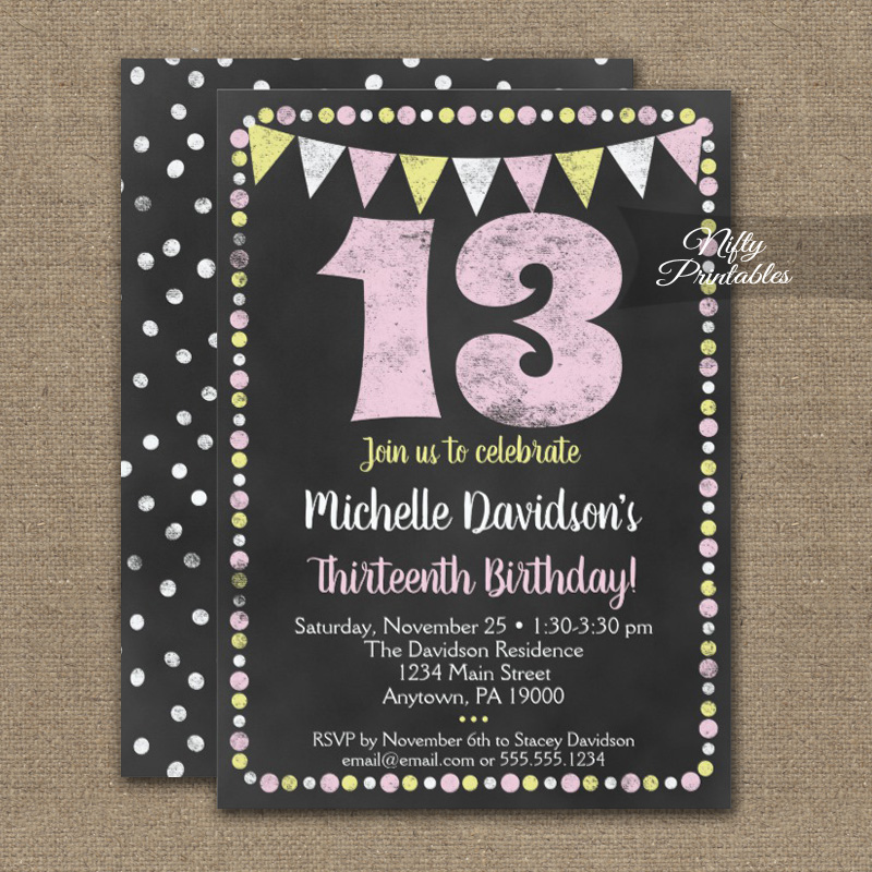 13th Birthday Invitation Pink Yellow Chalkboard PRINTED