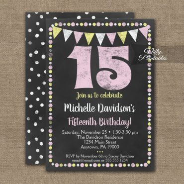 15th Birthday Invitation Pink Yellow Chalkboard PRINTED