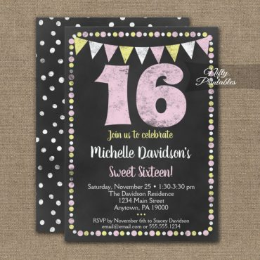 16th Birthday Invitation Pink Yellow Chalkboard PRINTED