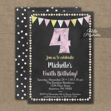 4th Birthday Invitation Pink Yellow Chalkboard PRINTED