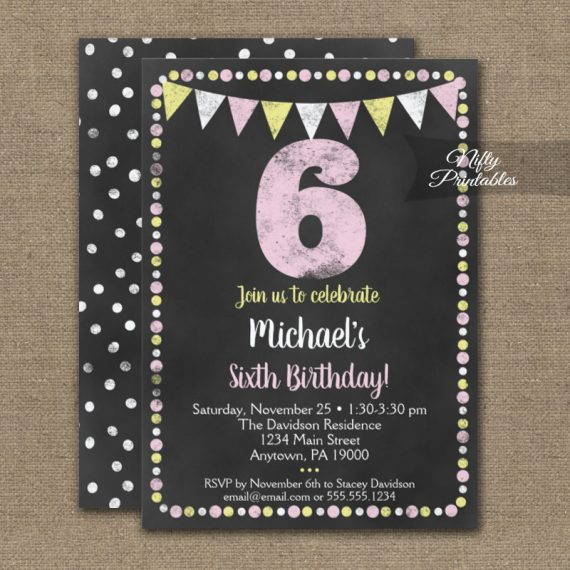 6th Birthday Invitation Pink Yellow Chalkboard PRINTED