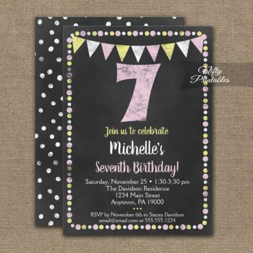 7th Birthday Invitation Pink Yellow Chalkboard PRINTED