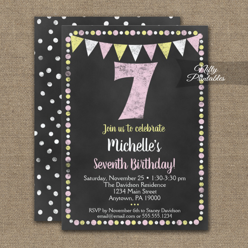 7th Birthday Invitation Pink Yellow Chalkboard PRINTED Nifty