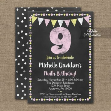9th Birthday Invitation Pink Yellow Chalkboard PRINTED
