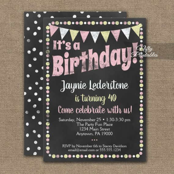 Birthday Invitation Pink Yellow Chalkboard PRINTED
