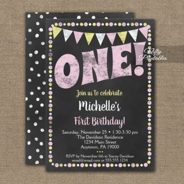 1st Birthday Invitations Pink Yellow Chalkboard PRINTED