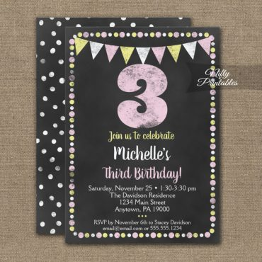 3rd Birthday Invitation Pink Yellow Chalkboard PRINTED