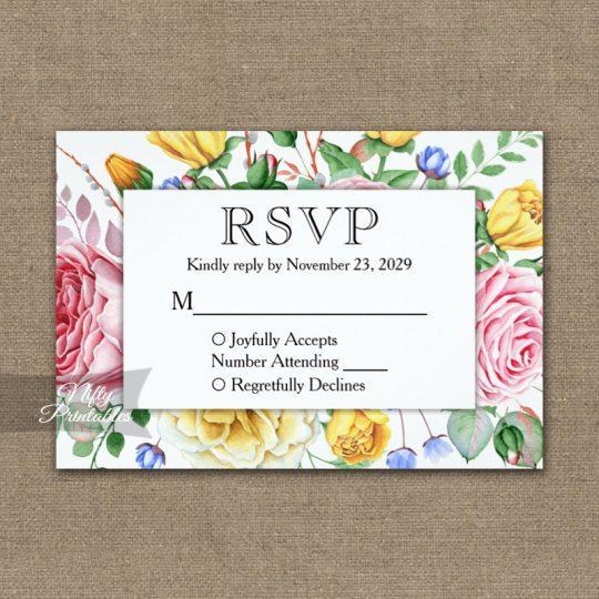 Pink Yellow Roses RSVP Card Wedding Response PRINTED