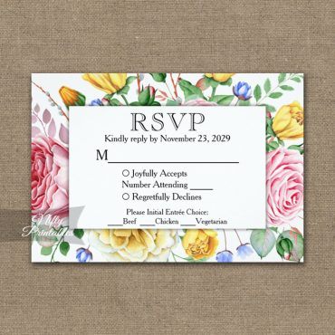 Pink Yellow Roses RSVP Card w/ Meal Choices PRINTED