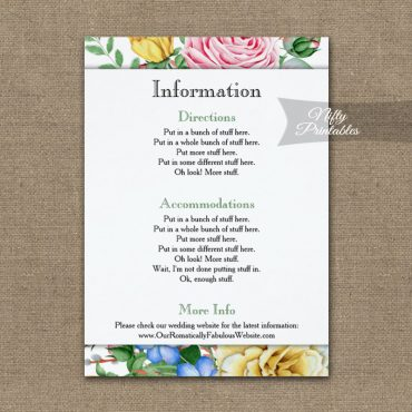 Pink Yellow Roses Wedding Details Info Card PRINTED