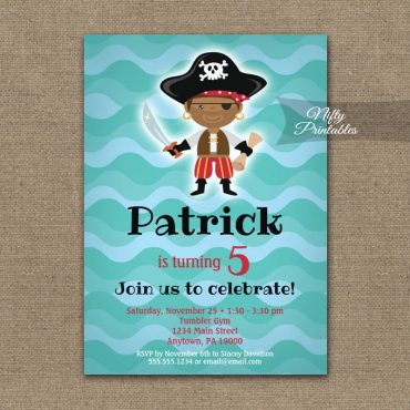 Birthday Invitation Pirates African American PRINTED