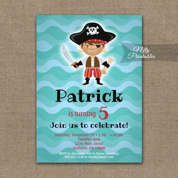 Birthday Invitation Pirate PRINTED
