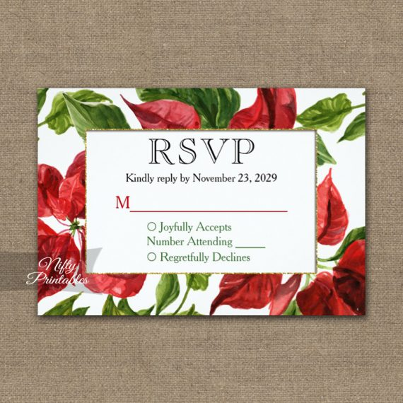 Poinsettia RSVP Card Wedding Response PRINTED