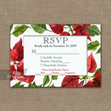 Poinsettia RSVP Card w/ Meal Choices PRINTED