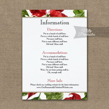 Poinsettia Wedding Details Info Card Printed Nifty Printables