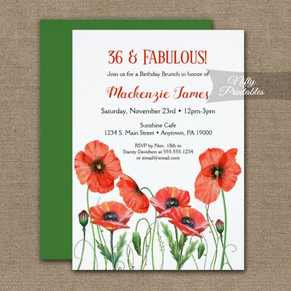 Birthday Invitation Poppies Floral PRINTED