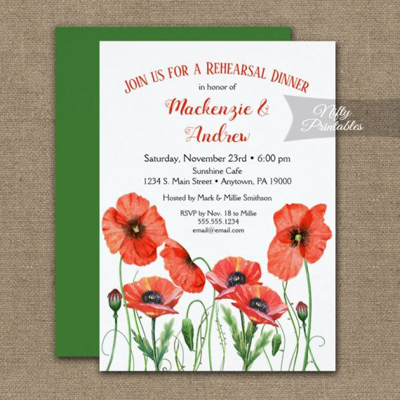 Rehearsal Dinner Invitation Poppies Floral PRINTED